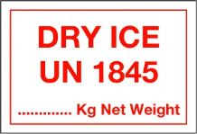 UN1845  Dry Ice Handling Label 75mm x 110mm- Rolls of 250 DI